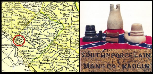 Map of Kaolin, SC and photo of Southern Porcelain insulators