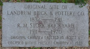 Memorial marker at chimney base & R.M. Stork brick