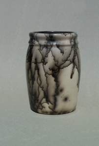 Horse Hair Raku Vase: Porcelain with terra sigillata