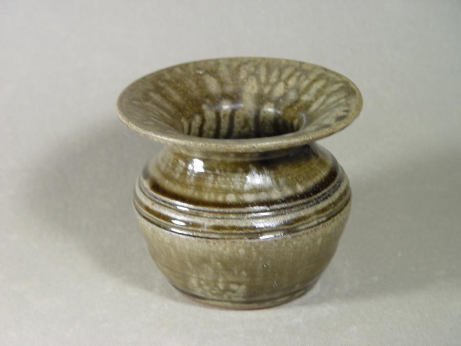 Wood-fired cuspidor made local clay, ash-glazed