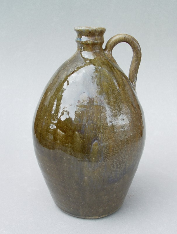 Alkaline-glazed jug: Thrown native stoneware with ash glaze, wood-fired