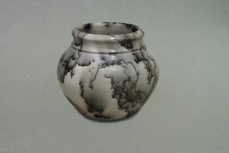 Horse Hair Raku Vase: Porcelain, terra sigilata, horse hair