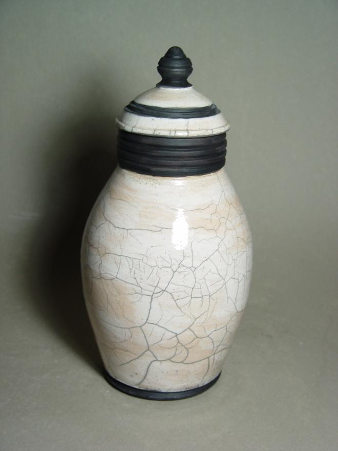 Lidded Raku Jar: Local clay, raku glaze