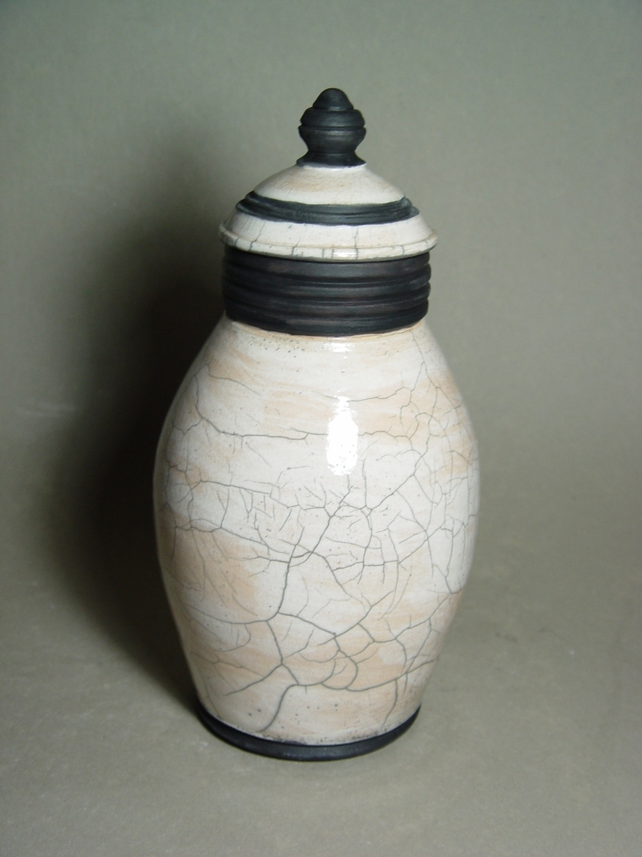 Lidded Raku Jar: Local clay, raku glaze