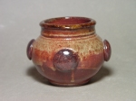 Small Jar with Applique: Local clay, Shino glaze, applied embellishments, wood-fired