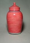 Lidded Jar: Raku, glaze, underglaze