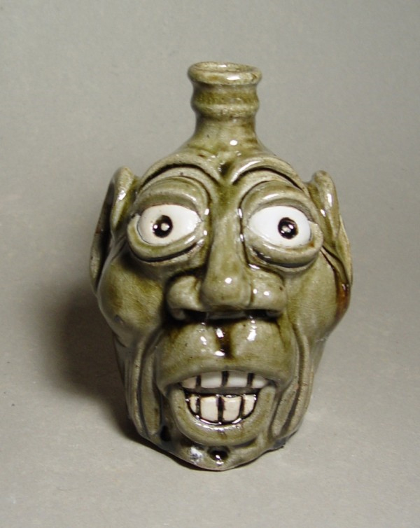 Face Jug: Local stoneware with kaolin details, ash-glazed, wood-fired