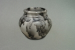 Horse Hair Raku Jar: Porcelain with terra sigillata