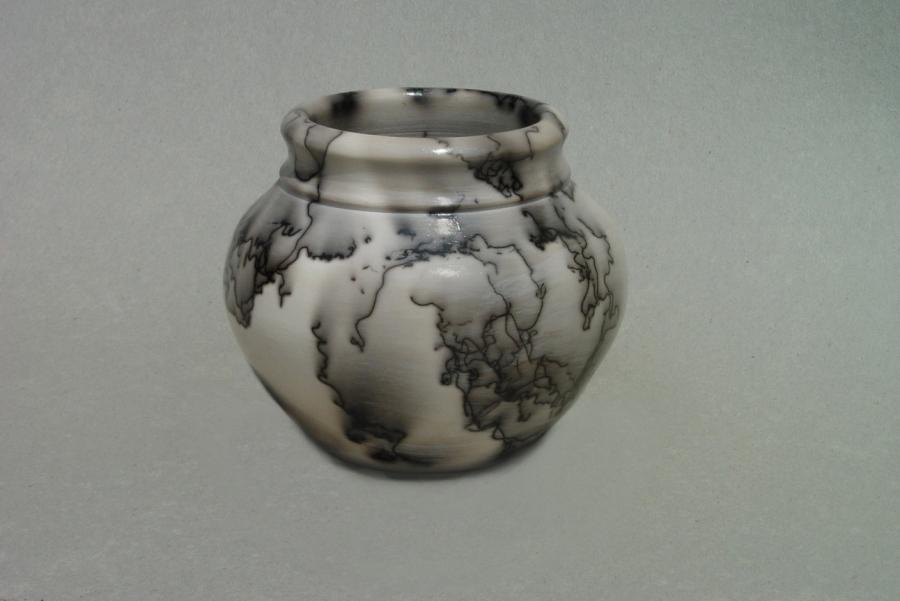 Horse Hair Raku Jar: Porcelain with terra sigillata