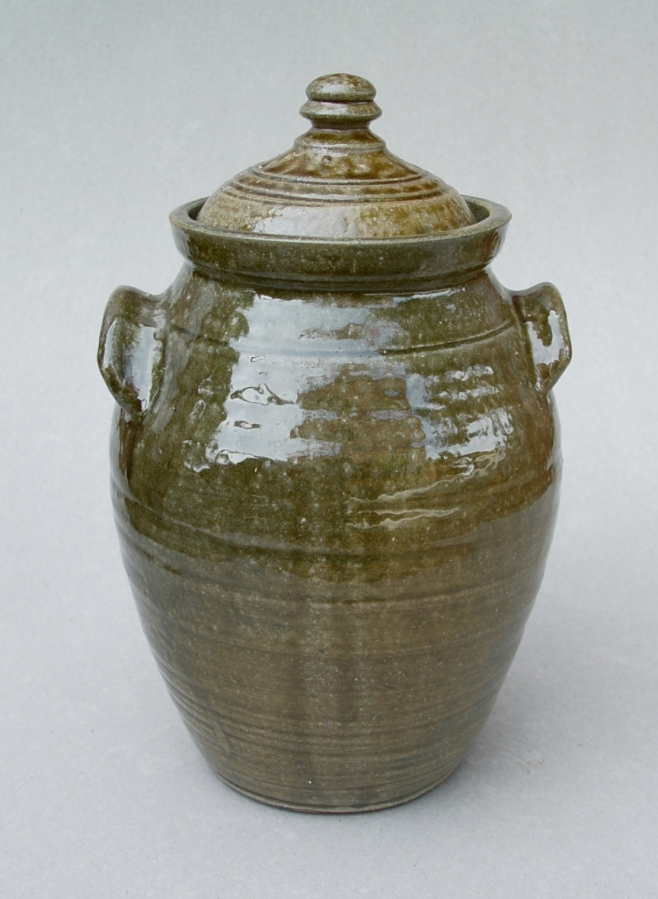 Lidded Jar: Wood-fired local clay with ash glaze