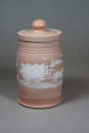 Lidded Pioneer Jar: Local clay with kaolin slip-trailed design, clear glaze