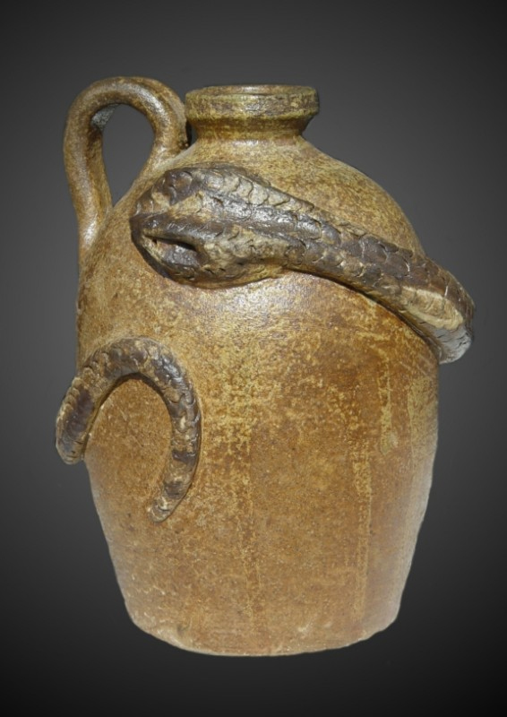 Snake Jug: Thrown native stoneware with ash glaze, wood-fired