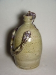Snake and Mouse Jug: Thrown native stoneware with ash glaze, wood-fired