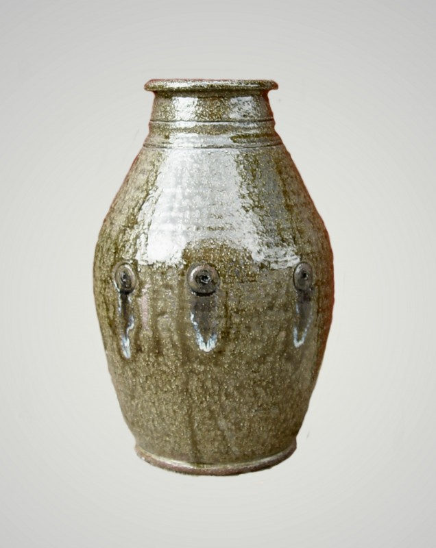 Made with local clay, added glass embellishments, ash glaze, wood-fired